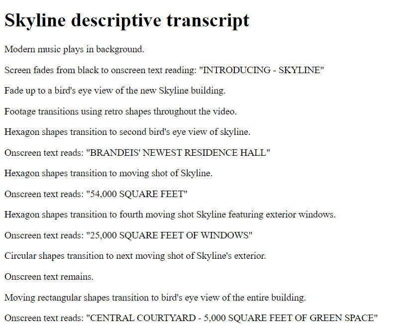 Example video transcript